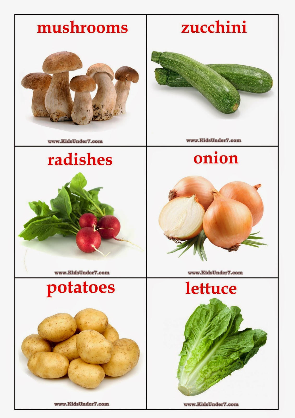 Kids Under 7: Vegetables Flashcards