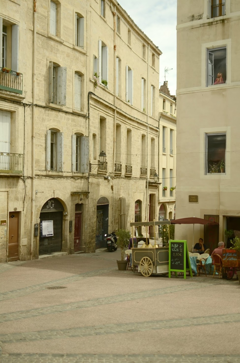 a street, architectural details in montpellier france