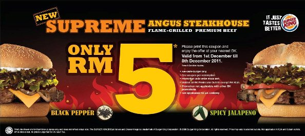 RM5 coupon supreme angus steakhouse black pepper spicy jalapeno burger king