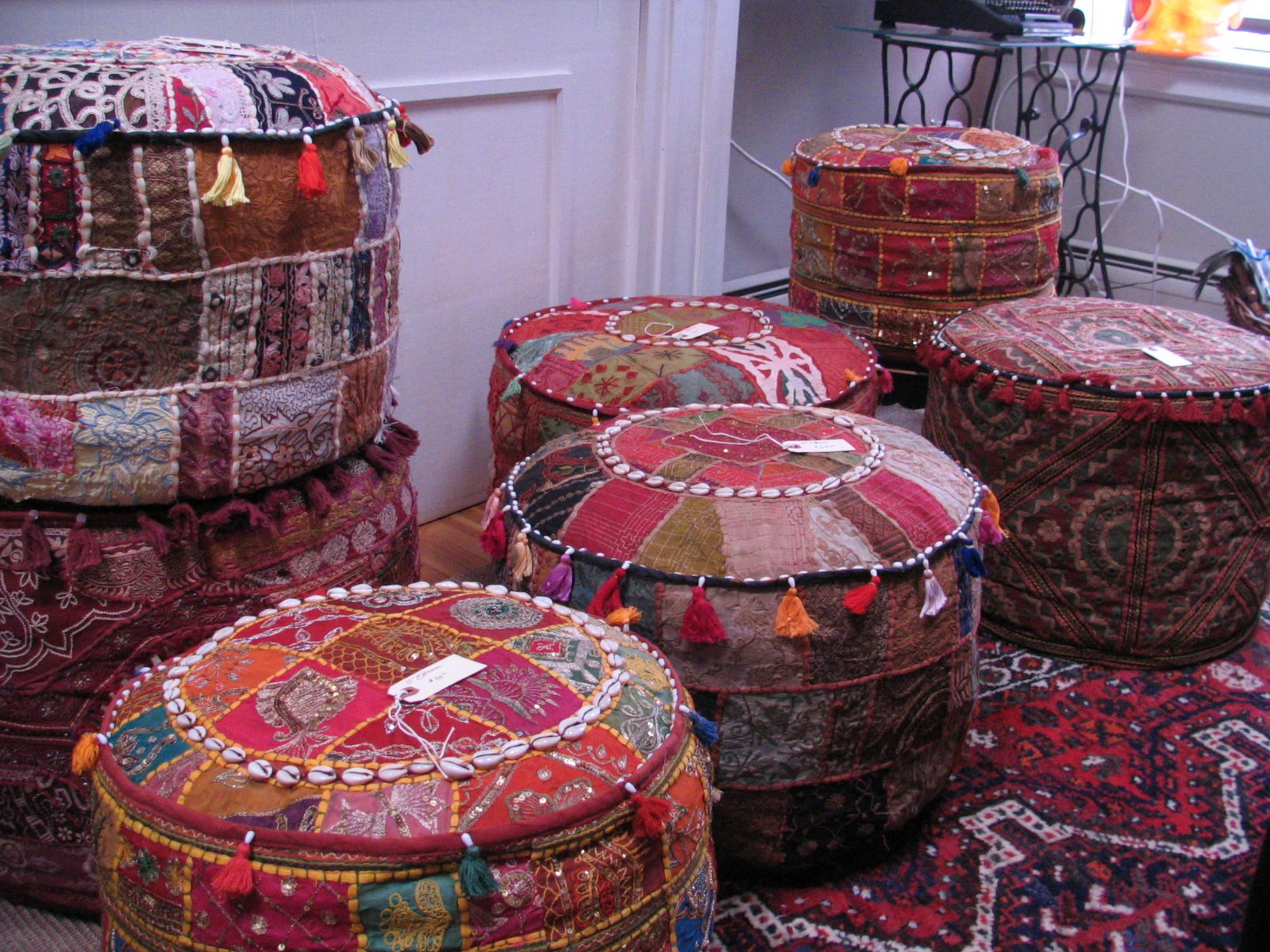 the eclectic bohemian buying moroccan poufs and indian. Black Bedroom Furniture Sets. Home Design Ideas