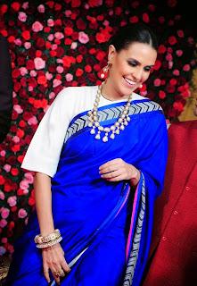 Neha Dhupia in Blue Saree at a Wedding Reception