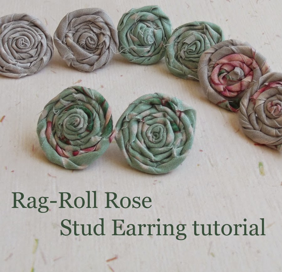 shabby chic rolled rose rag-rolled rose stud earrings