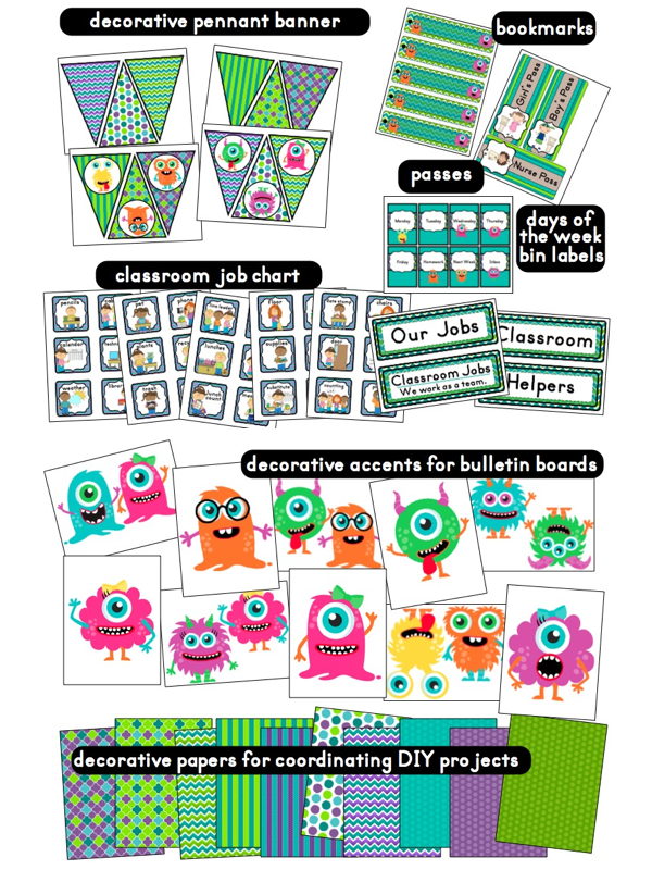 Classroom Decoration Printables Free : Clutter free classroom monster themed classrooms