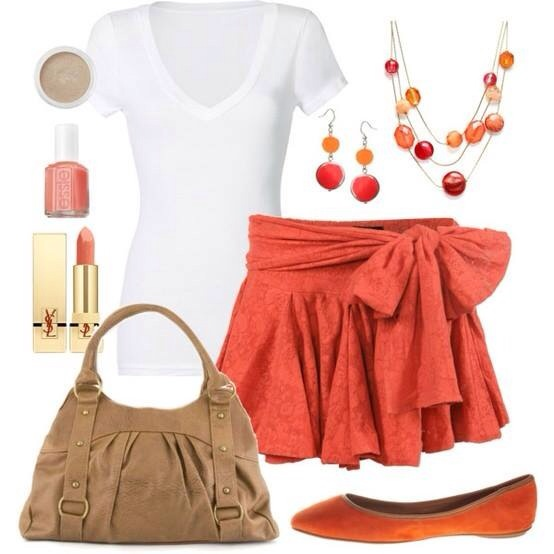 White open chest blouse, red belly, brown bag and slippers for ladies