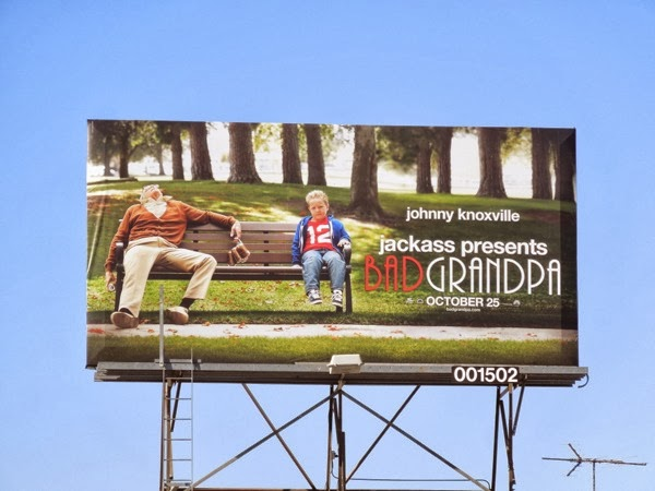 Bad Grandpa park bench billboard