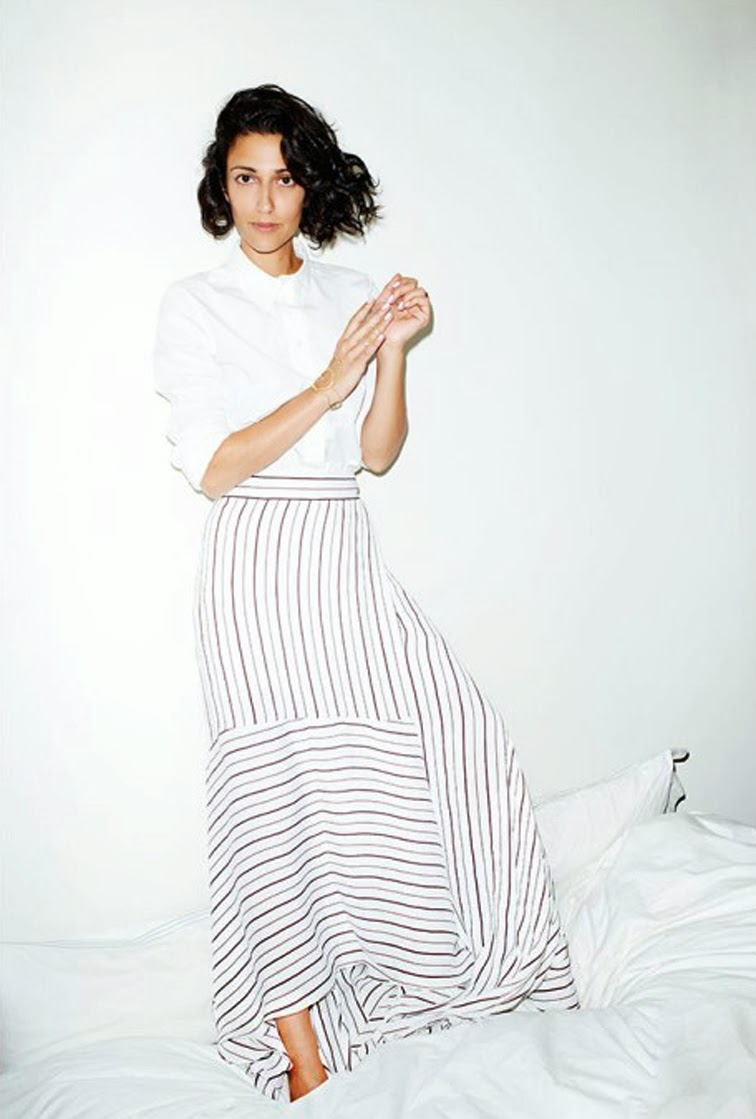 Yasmin Sewell stipe skirt all white