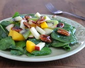 Spinach Salad with Fruity Vinaigrette, Fresh Fruit & Glazed Pecans