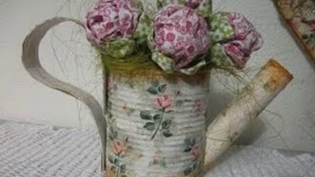 Video come fare una teiera decorativa shabby con un for Barattoli latta shabby