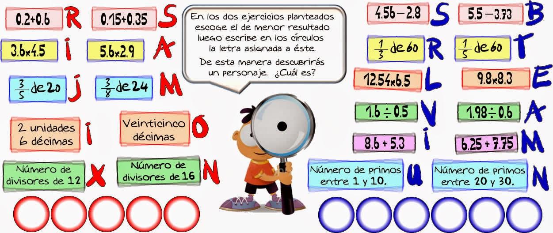 Reto matemático, Desafío matemático, Problema matemático, Decimales, Descubre el número, Problemas para pensar, Operaciones con decimales, Descubre el Personaje