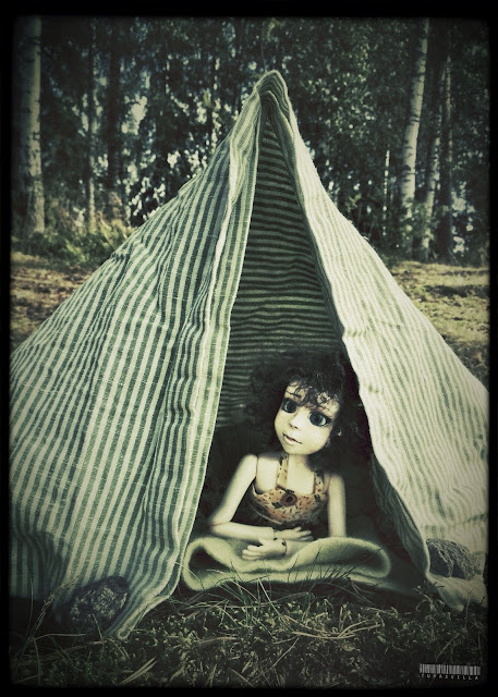 Girl and tent