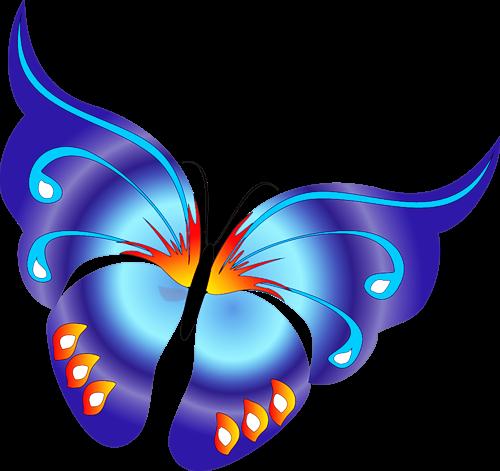 Cartoon Blue Butterfly Clipart