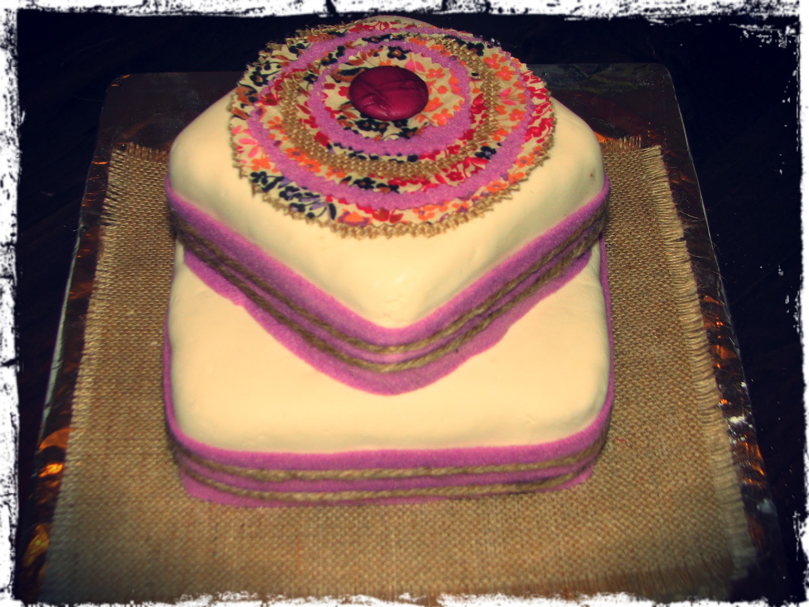 Rustic Birthday Cakewith A Touch Of Purple