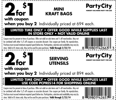 Party city coupon code in store
