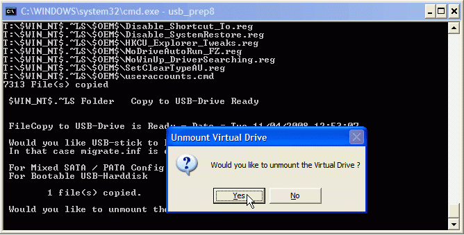 would you like to unmount the virtual drive