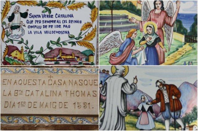 Azulejos pintados a mano que se encuentran en la mayoría de los portales de las casas del pueblo de Valldemosa en honor a Santa Catalina – Cartel sobre el portal de la casa natal de Santa Catalina en Valldemosa, Mallorca