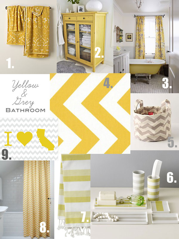 Oleander and palm grey and yellow bathroom inspiration for Yellow and grey bathroom sets