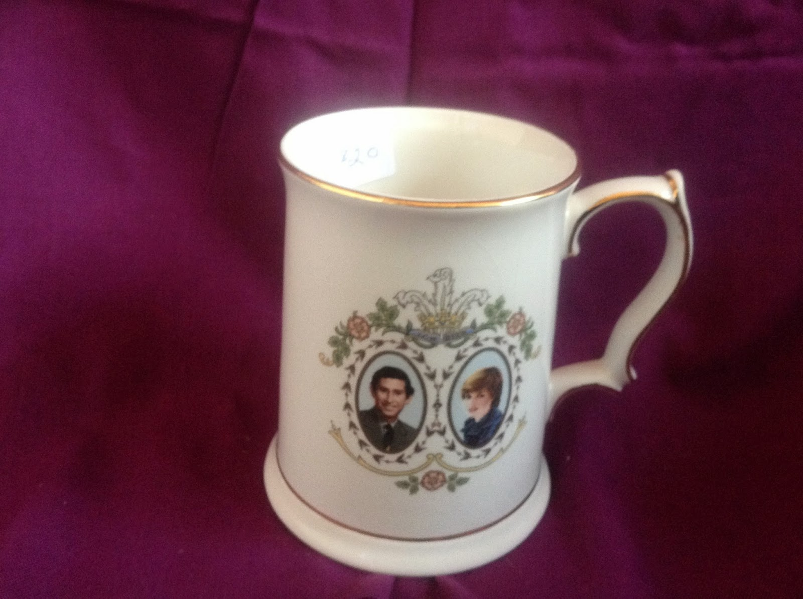 White china mug with Charles and Diana Picture  $20