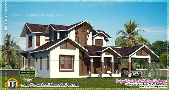 Kerala style contemporary mix home