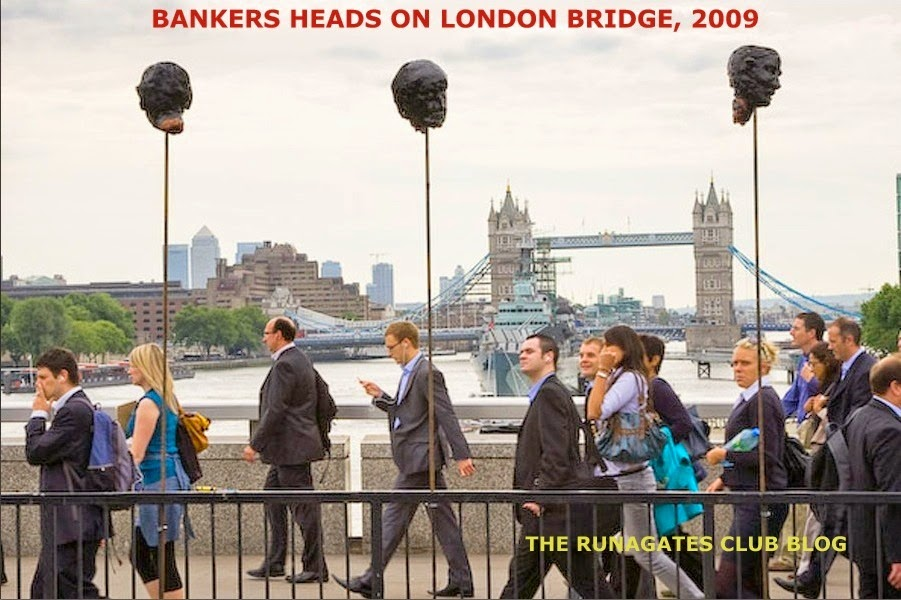 Severed heads of British bankers - protest on London Bridge, 2009