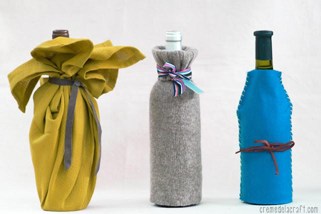 Diy upcycle wine bag sweater felt towel craft project idea