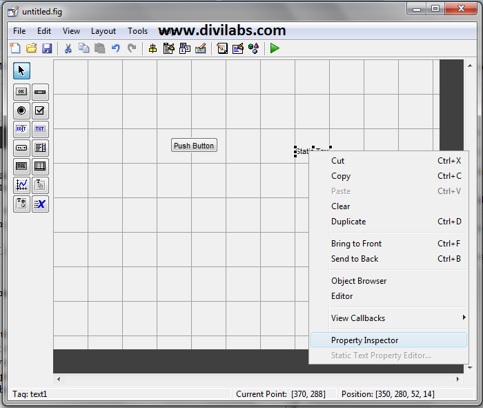 Changing the properties of various objects in MATLAB GUI through Property Inspector
