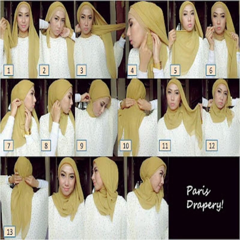 Tutorial dan gambar cara memakai jilbab hijab modern gaul model paris