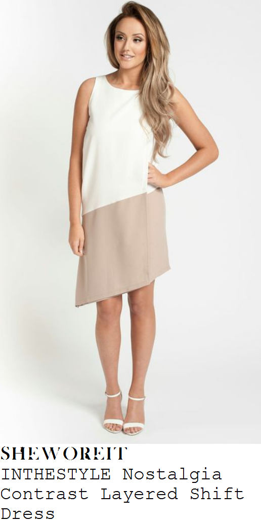 charlotte-crosby-cream-white-nude-beige-sleeveless-colour-block-asymmetric-dress-inthestyle-launch