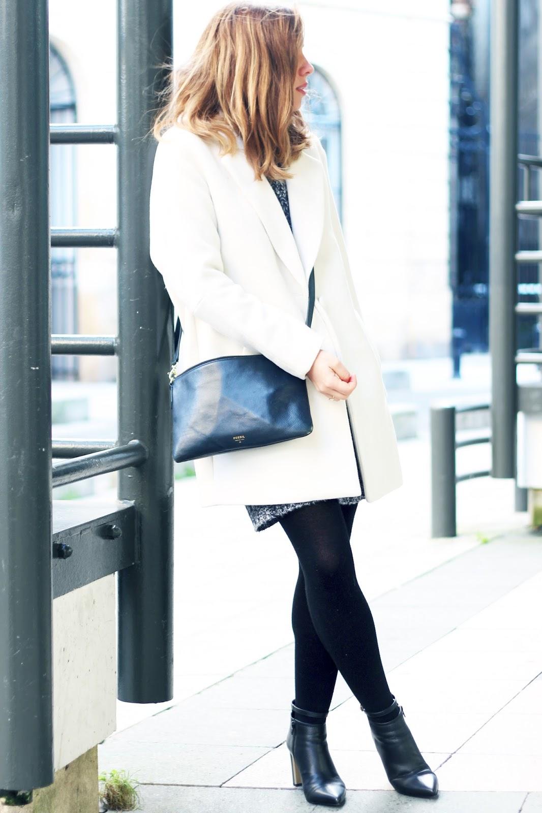 Manteau blanc coupe droite