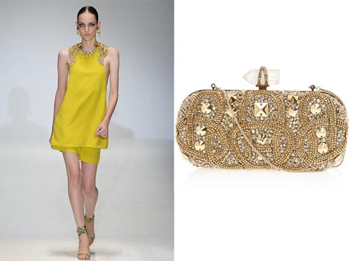 Gucci catwalk show. Marchesa clutch bag