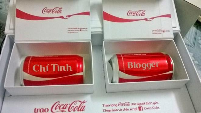 Viết tên lên lon cocacola của Trần Chí Tìn Blogger