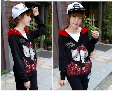 Jacket / Sweater Jaket Hello Kitty Polka Hoodie - 9735