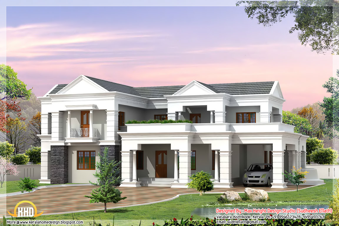 Indian style 3d house elevations kerala home design and for Home plans and designs