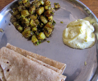 shrikhand and potato sabzi with spring onions