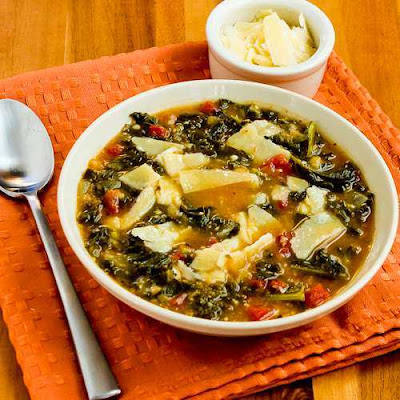 Slow Cooker Vegetarian Cannellini Bean and Kale Soup with Shaved Parmesan