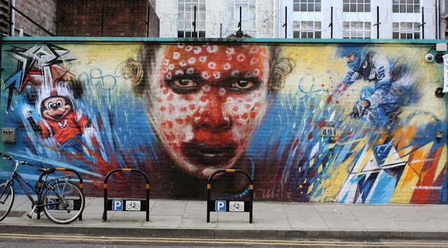 """Wonderland"" new Street Art mural by Dale Grimshaw in East London, UK. 1"
