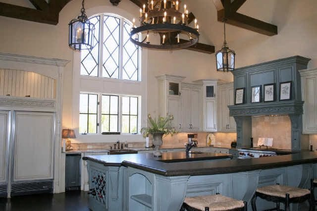 Beautiful Stained Blue Cabinetry With The Rich Woods Is Quite Pretty Kitchen Cabinets