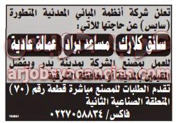 وظائف خالية في مصنع فى القاهرة