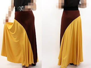 Skirt Labuh Lycra Brown/Mustard