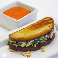 Michael Symon's Spinach and Feta Grilled Cheese with Tomato Soup 10.11.11