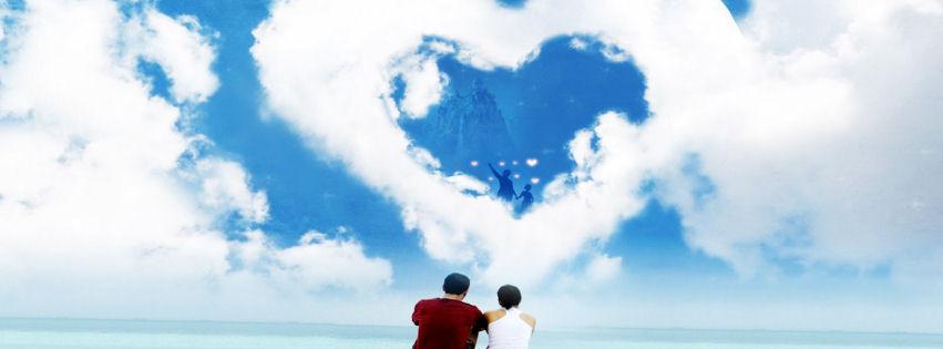 Kalp şeklinde bulut ve gökyüzü facebook kapak fotoğrafı