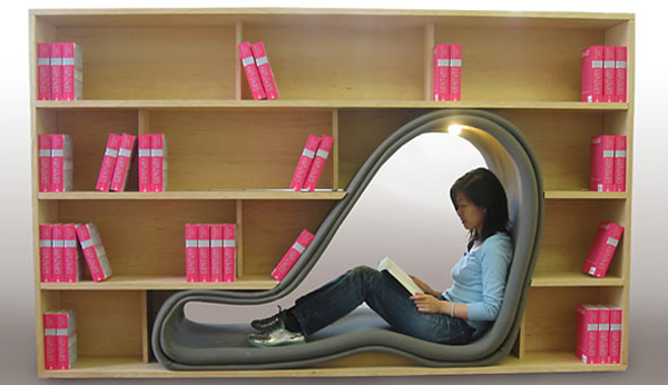 Cave Book Case Seating on Design and fashion recipes