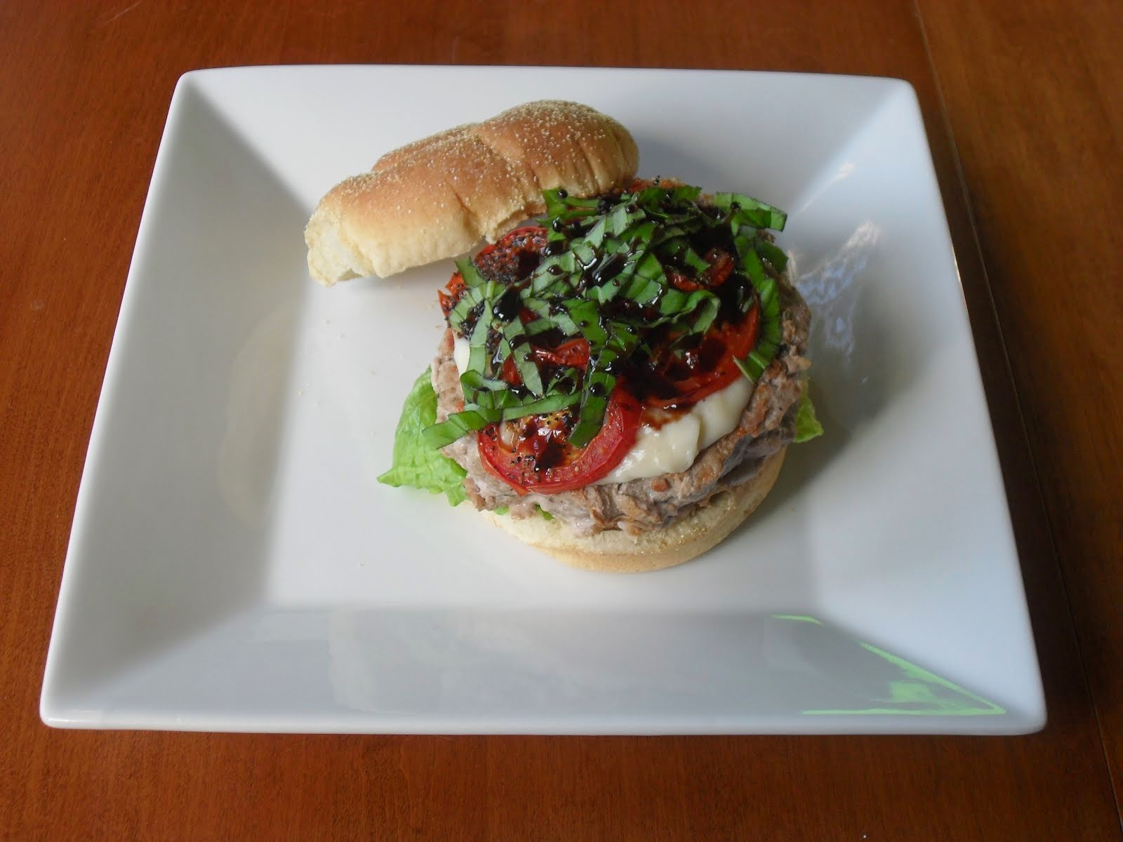 Sirloin Burgers with Garlic-Black Pepper-Parmesan Sauce & Roasted Tomatoes with Basil & Balsamic Dr