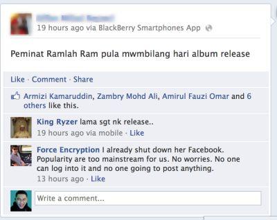 Akaun Facebook Ramlah Ram digodam