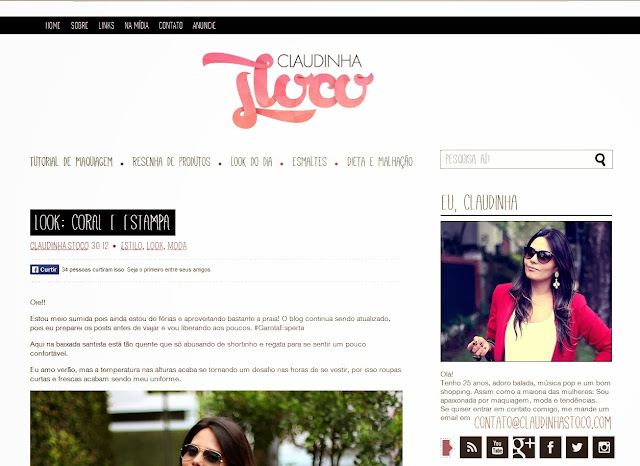 Blogs, famosos, Claudinha Stoco