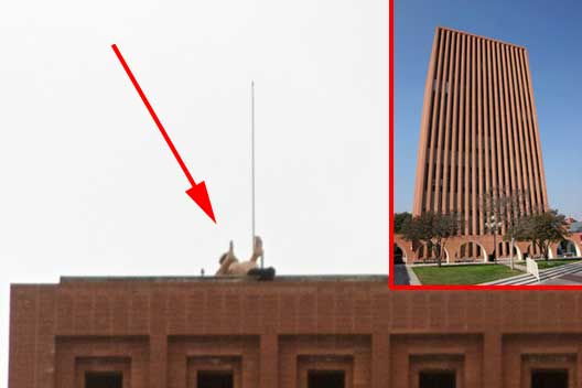 ... two people having sex on the roof of the school's Waite Phillips Hall.