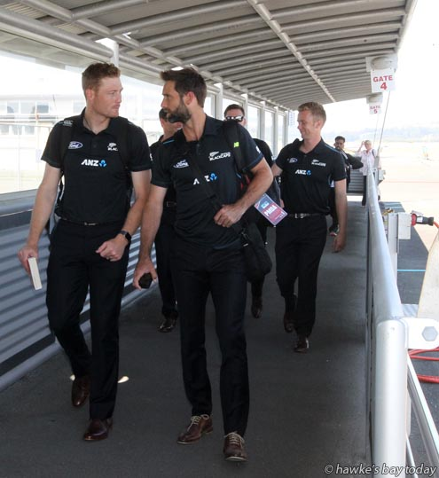 L-R: Martin Guptill and  Grant Elliott, as the Black Caps cricket team arrives at Hawke's Bay Airport, Napier, ready for their ODI against Pakistan at McLean Park, Napier, on Thursday. photograph