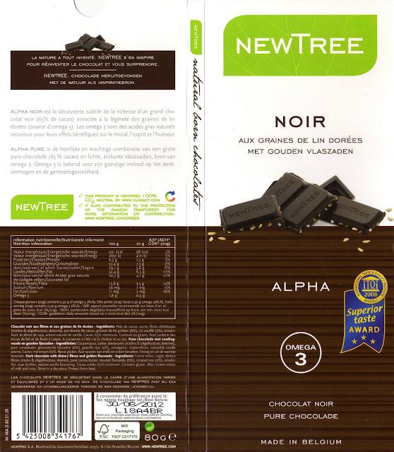 tablette de chocolat noir gourmand newtree noir aux graines de lin dorées alpha 65