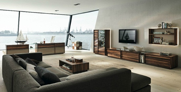 Modern Furniture Gray brown living room