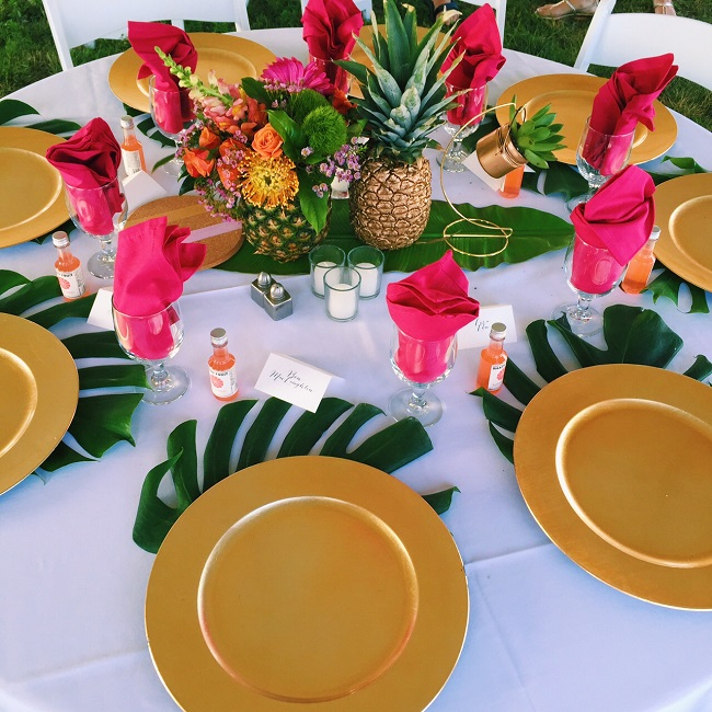 get the look tropical themed rehearsal dinner mac marlborough. Black Bedroom Furniture Sets. Home Design Ideas
