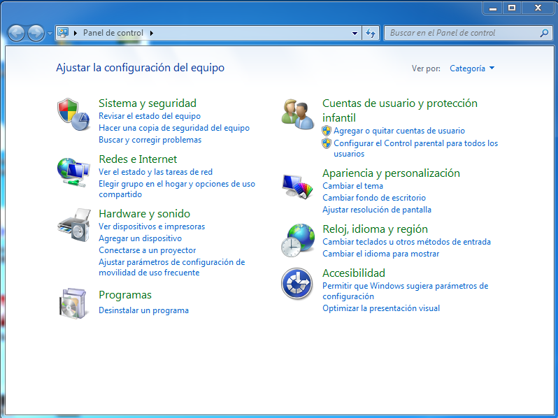 Panel de control Windows 7